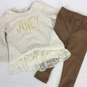NWT Juicy Couture 2 pc Baby Girl Outfit Top Pants
